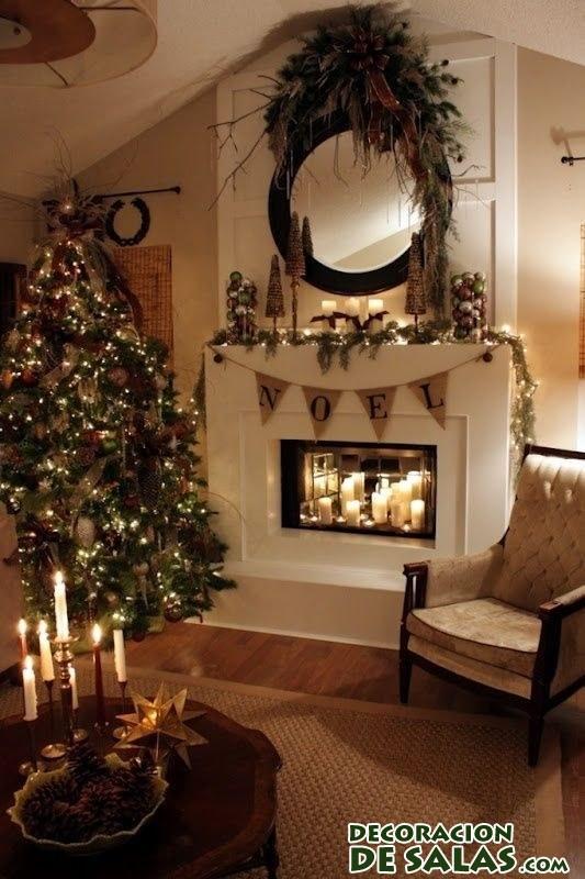 decoración de chimenea en navidad