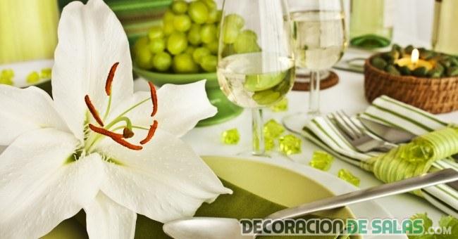 decoracion de mesa en verde