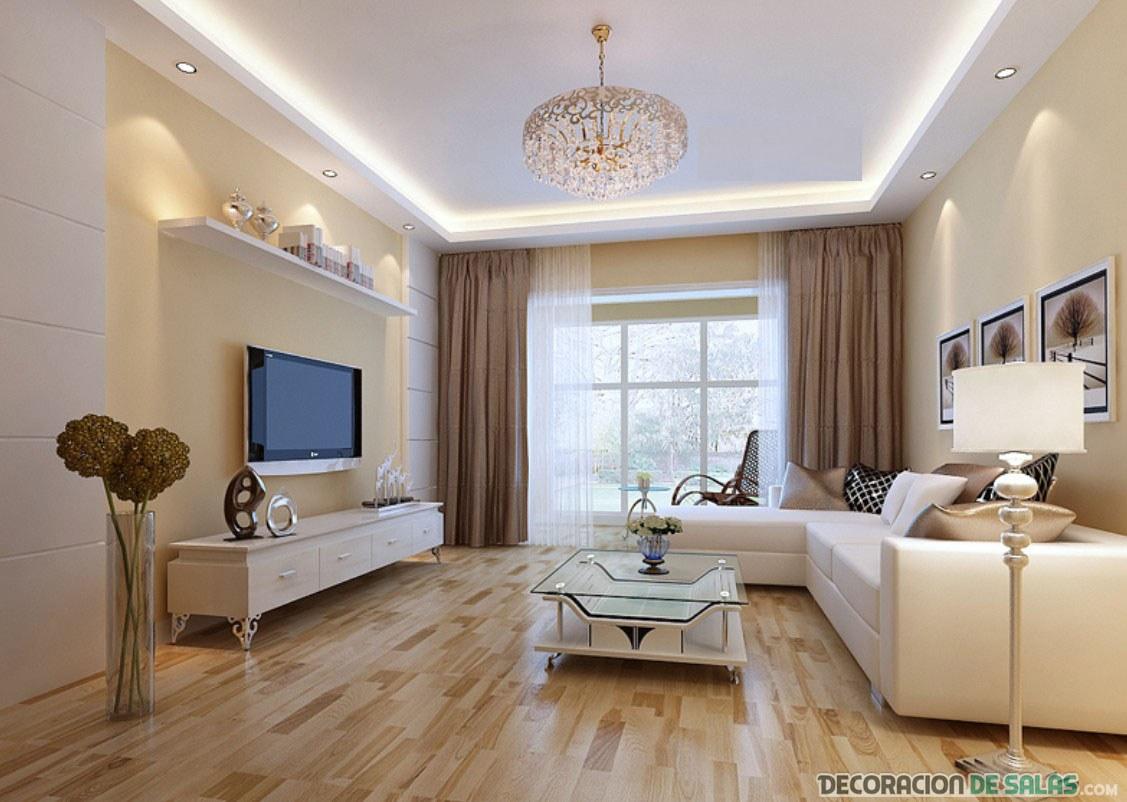decoración del salón en colores claros