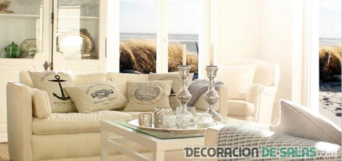 decoración en beige para salón de verano
