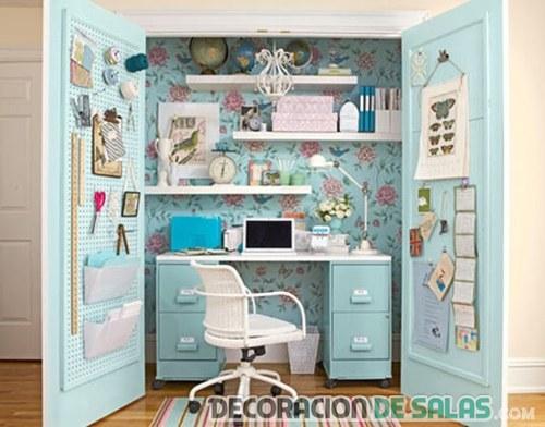 despacho en armario de color azul