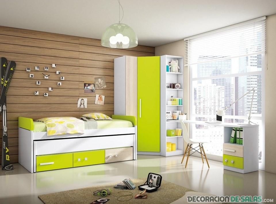 dormitorio amarillo con armario rinconera