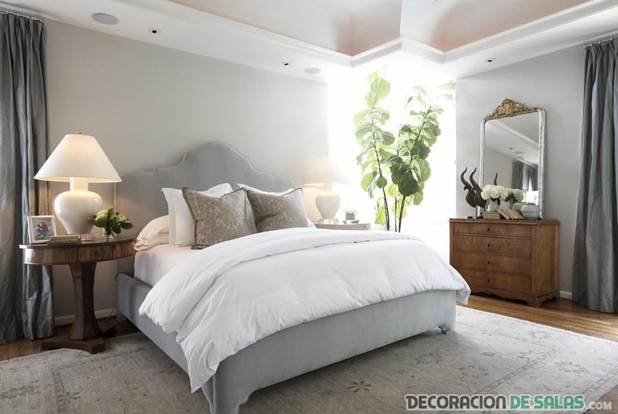 dormitorio amplio color gris