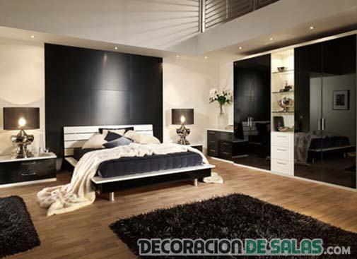 dormitorio amplio con armario en negro