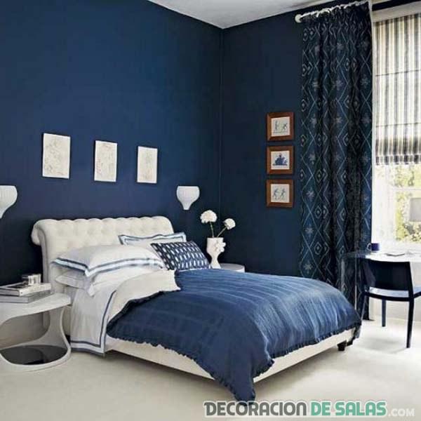 Dormitorio azul pequeño