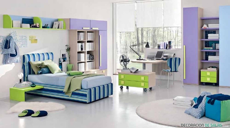 dormitorio azul y malva