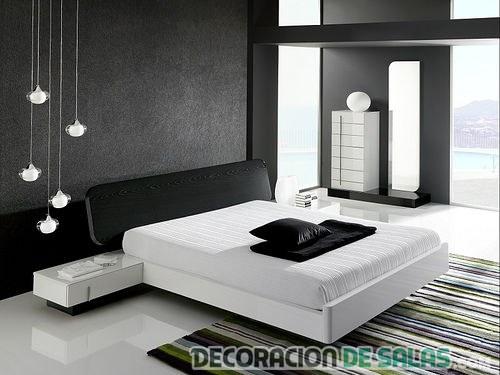 dormitorio blanco y negro decoración masculina