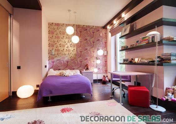 dormitorio chica estanterías madera