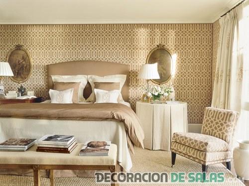 dormitorio colores neutros con banco