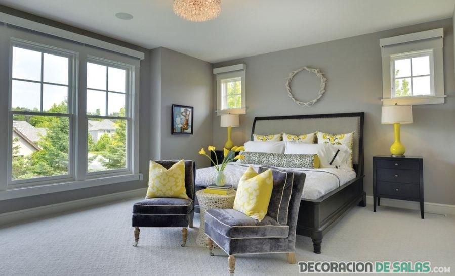 dormitorio combinado en color gris y amarillo