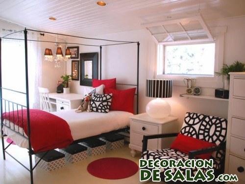 Dormitorio combinado en rojo y negro