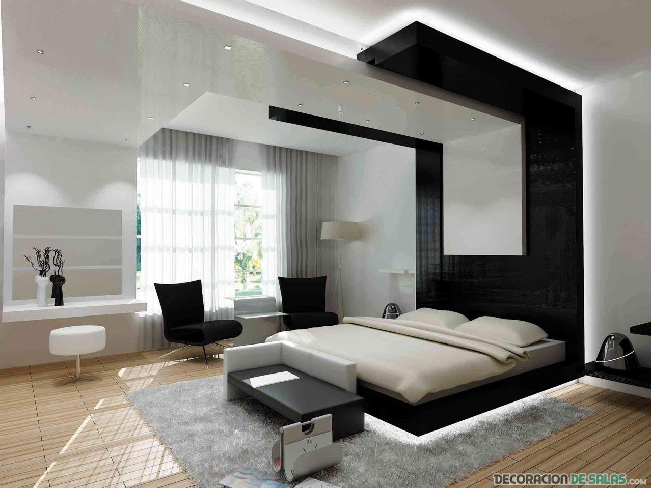 dormitorio con cabecero negro