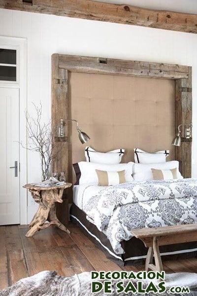 dormitorio con cabecero rústico sencillo