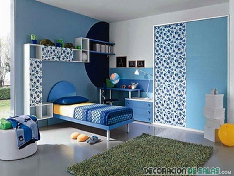 dormitorio con color azul serenity