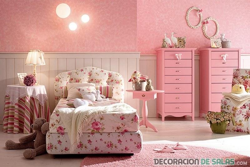 dormitorio con muebles rosas
