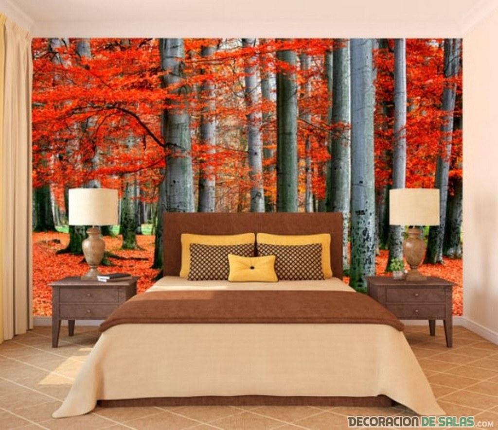 dormitorio con mural de otoño
