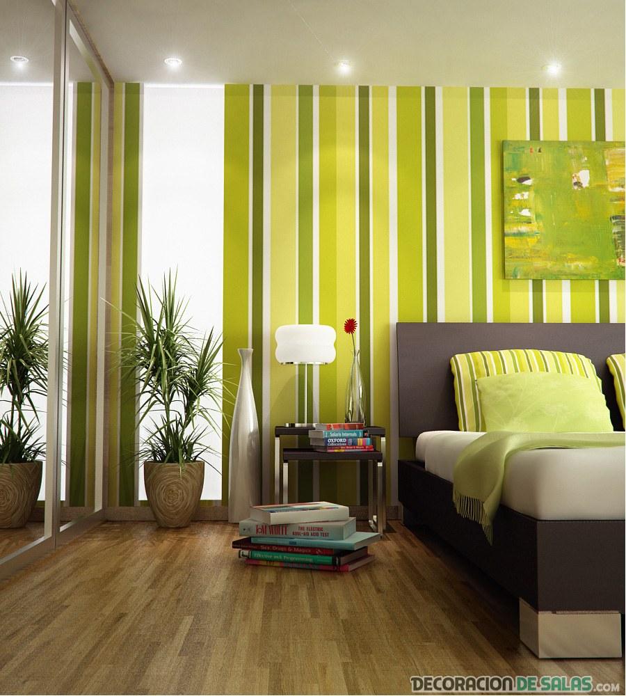 dormitorio con papel pintado en verde