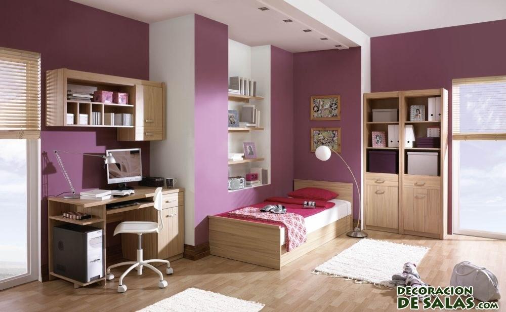 dormitorio con paredes malvas