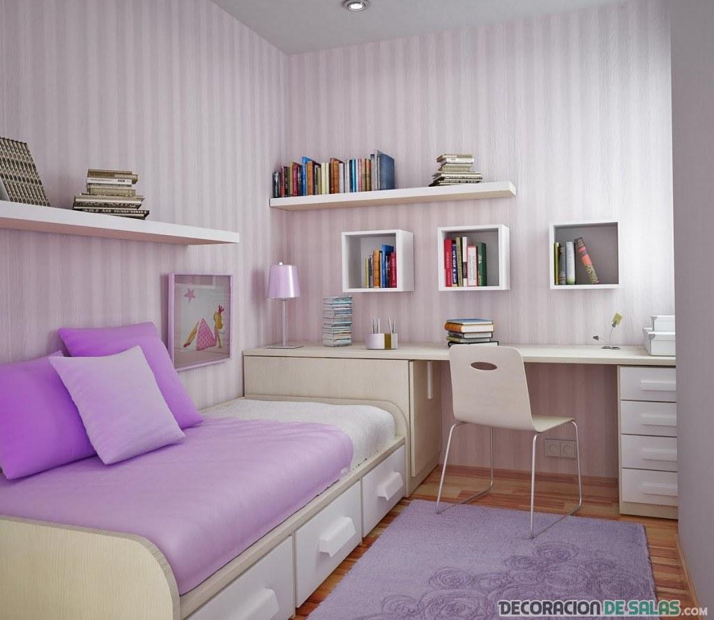 dormitorio de chica en color malva
