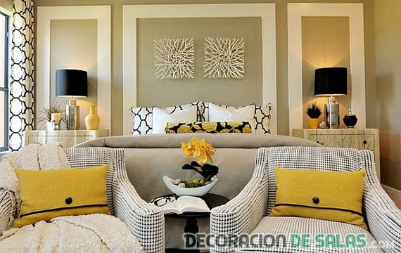 dormitorio decorado con amarillo