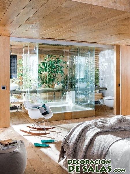 dormitorio elegante con baño