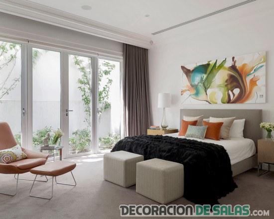 dormitorio elegante con combinación de colores