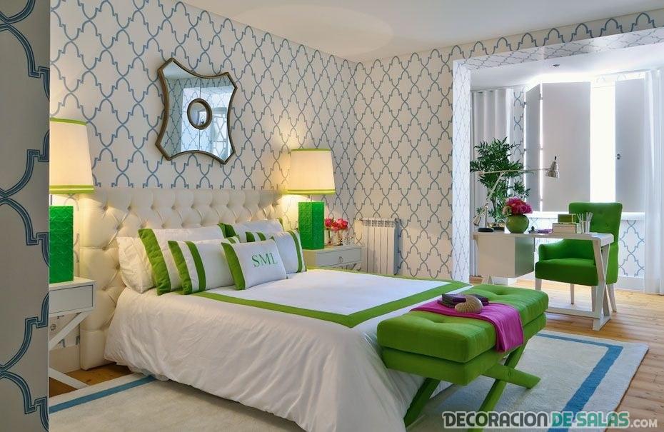 dormitorio elegante en azul y verde