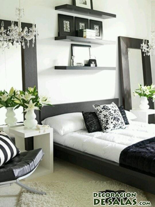 dormitorio elegante en blanco y negro
