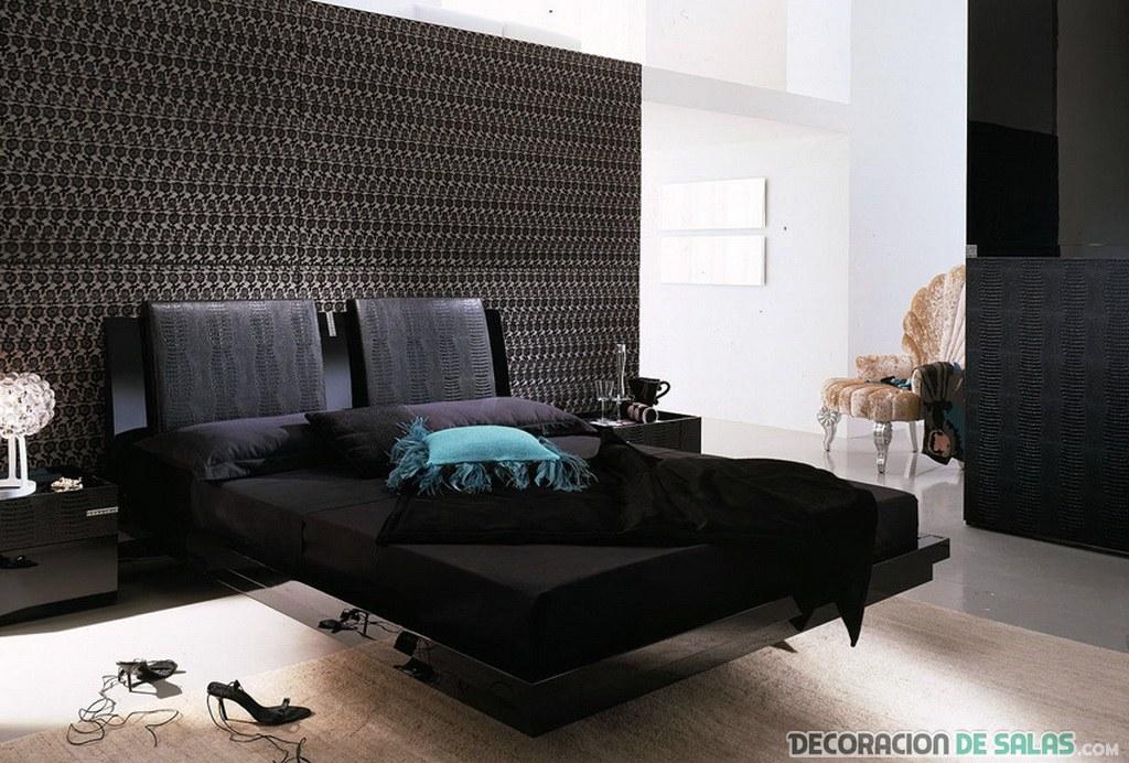 dormitorio elegante en color negro