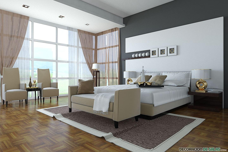 dormitorio elegante en marrón