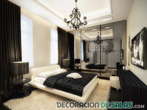 dormitorio elegante y moderno en negro