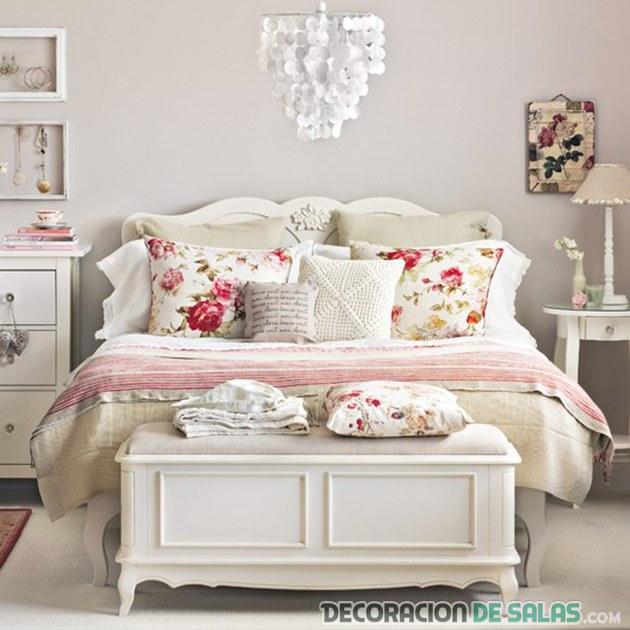 dormitorio en blanco de estilo vintage