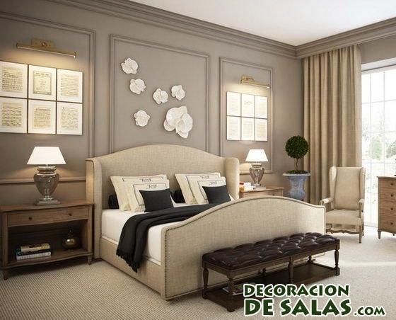 dormitorio en color marrón con detalles
