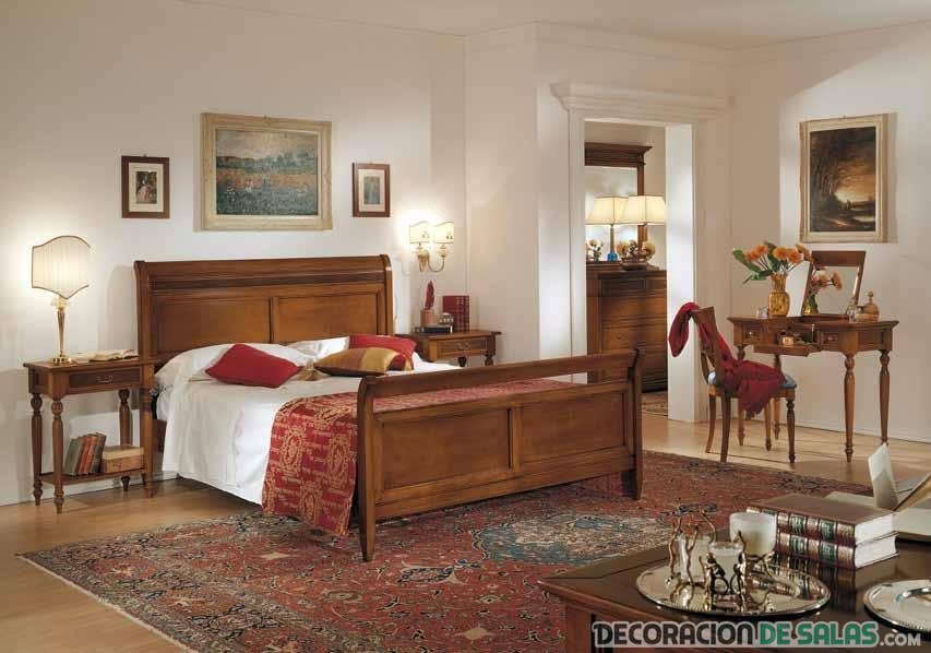 dormitorio en madera clásico