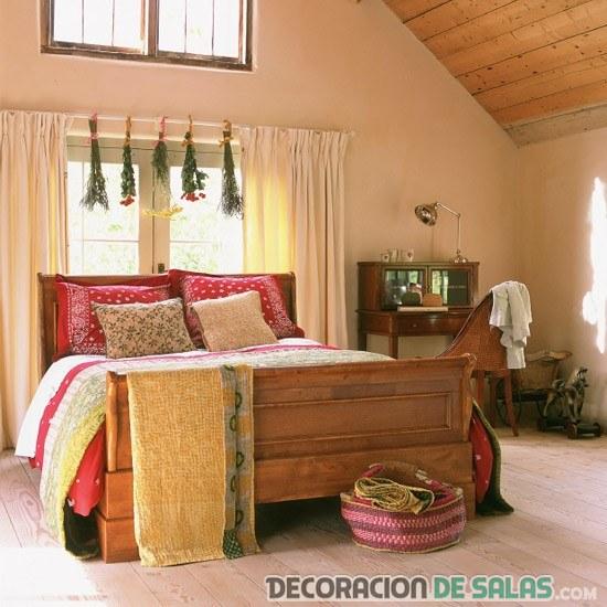 dormitorio en otoño rústico