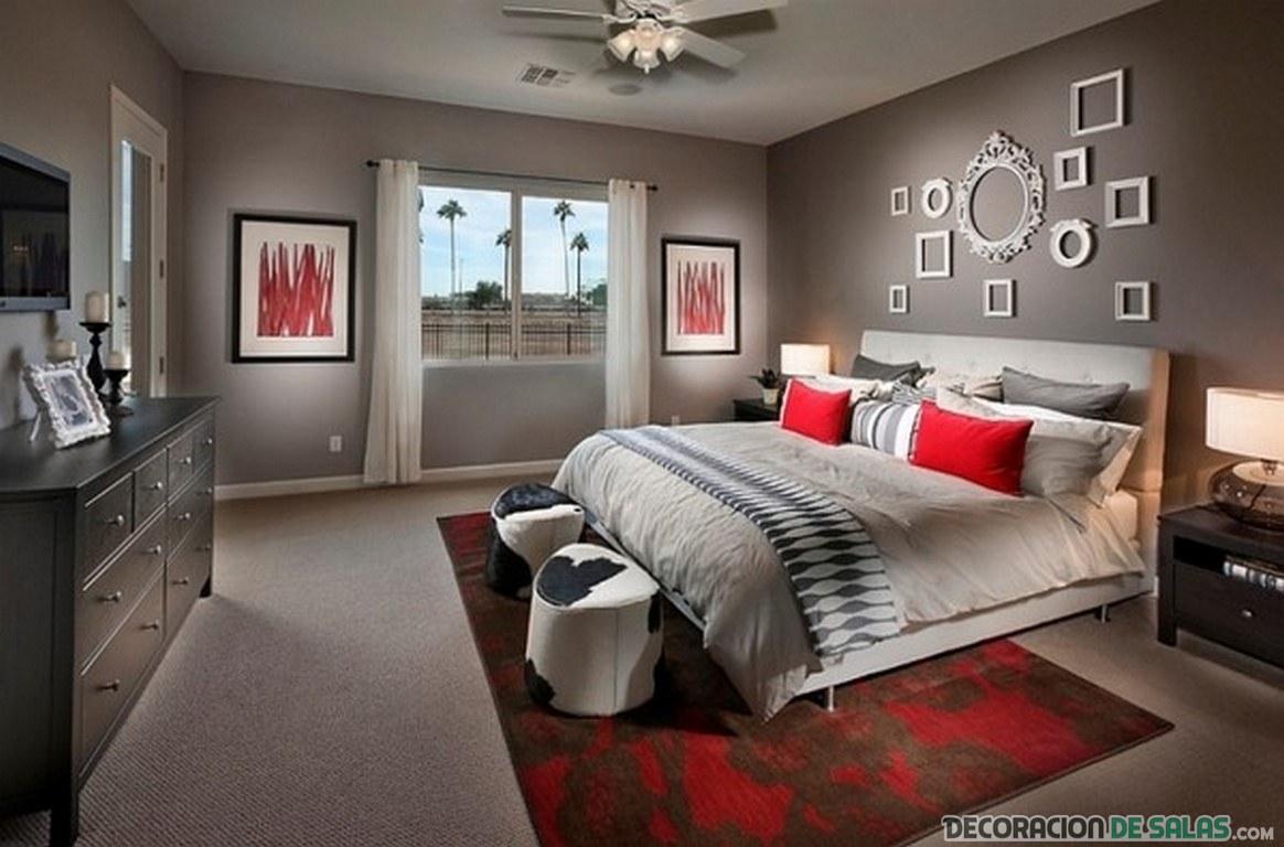 dormitorio en rojo y gris