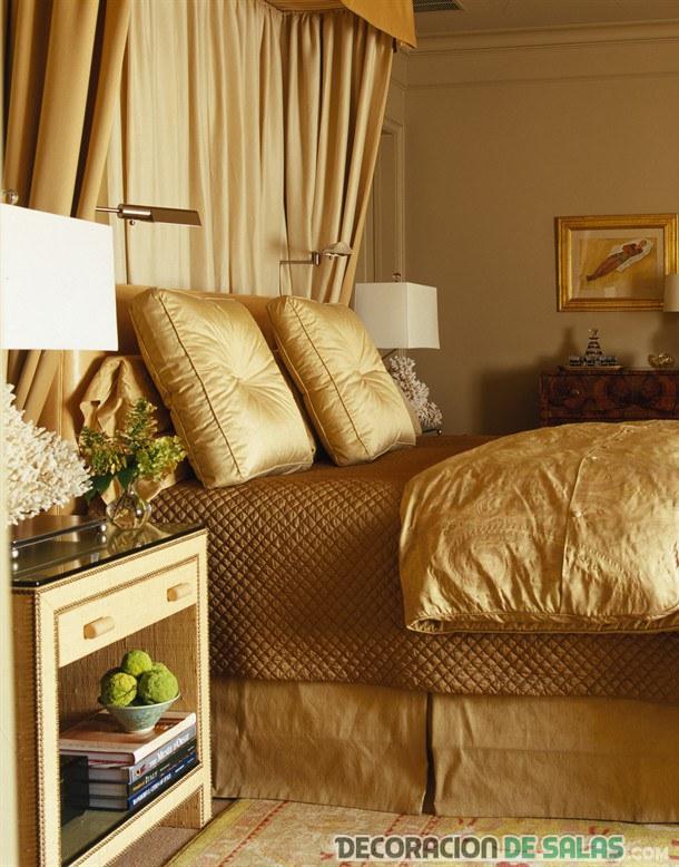 dormitorio en tonos dorados