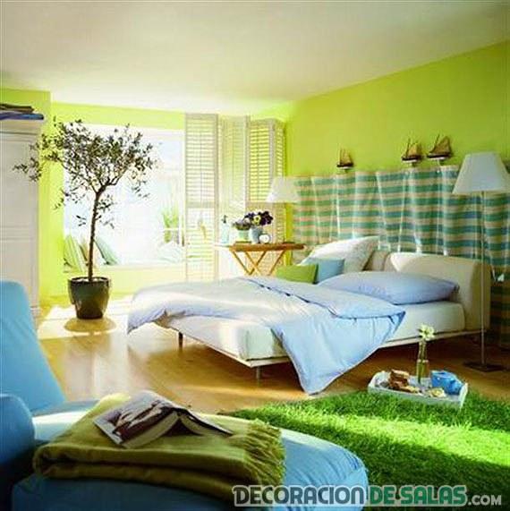 dormitorio en tonos verdosos