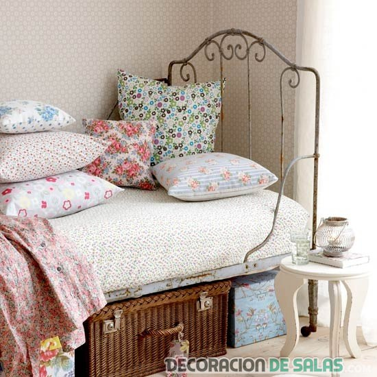 dormitorio estilo vintage cama