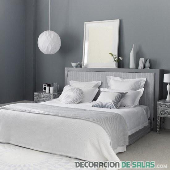 dormitorio gris perlado y blanco