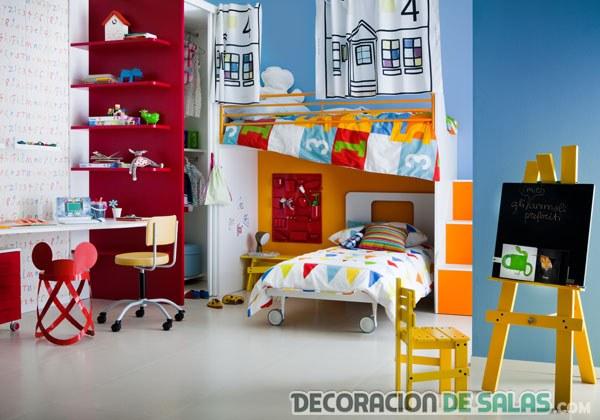 dormitorio infantil rojo azul y amarillo
