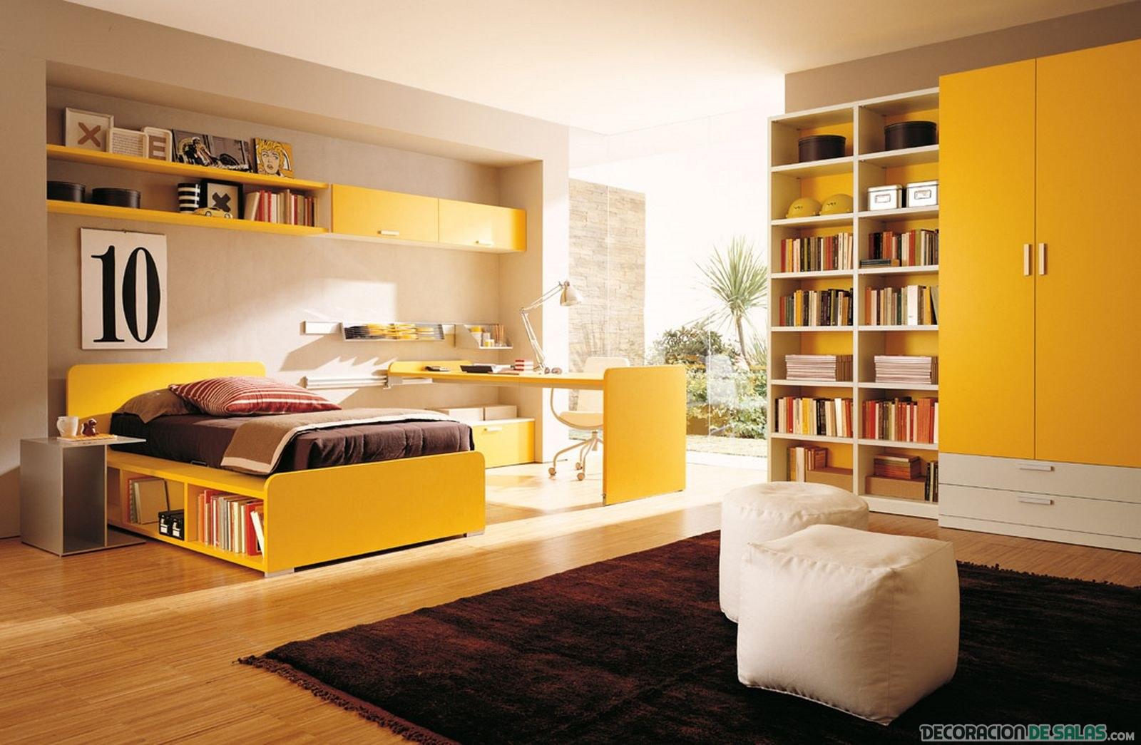 dormitorio juvenil en amarillo