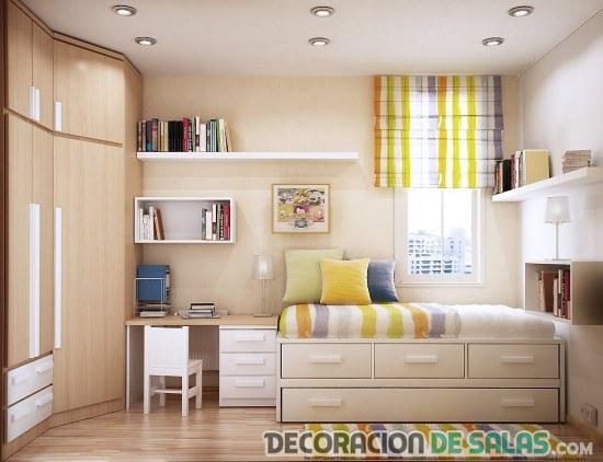 dormitorio juvenil en colores neutros