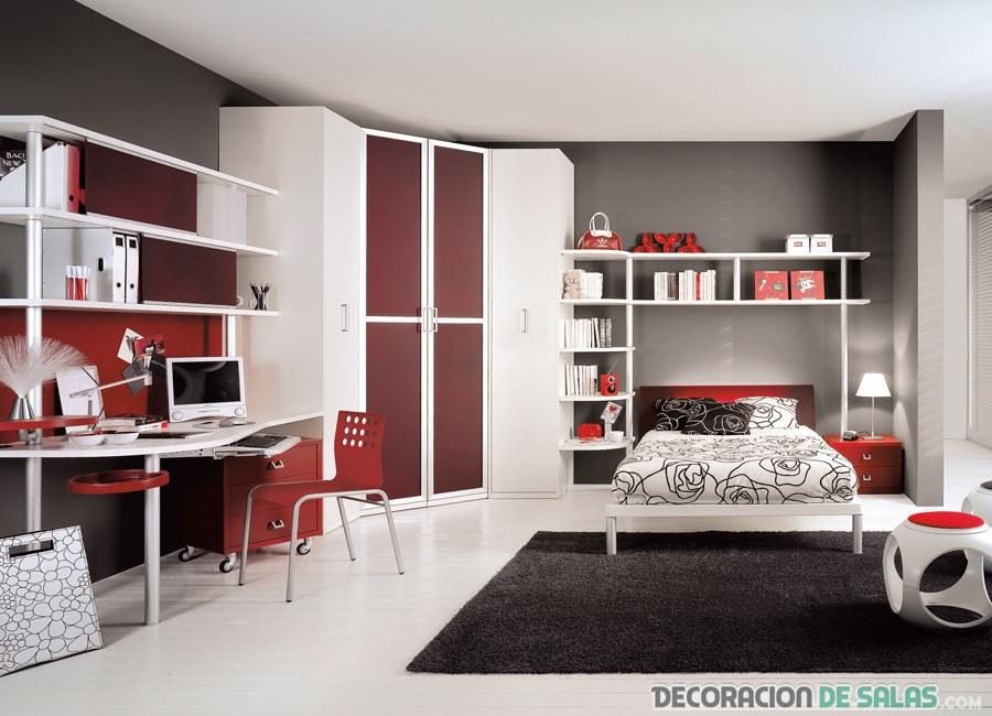 dormitorio juvenil en rojo