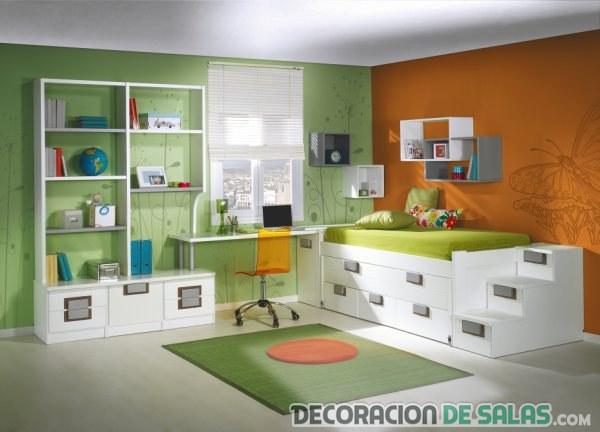 dormitorio juvenil en verde