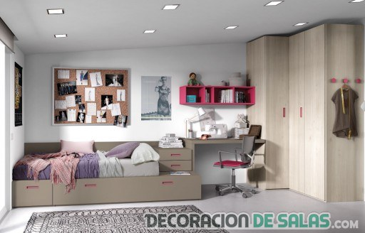 dormitorio juvenil madera sencillo