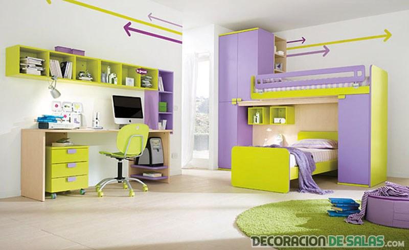 dormitorio juvenil malva verde
