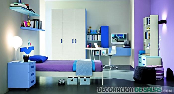Dormitorio juvenil moderno en azul