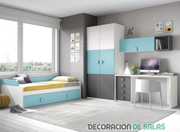 dormitorio juvenil para habitación amplia