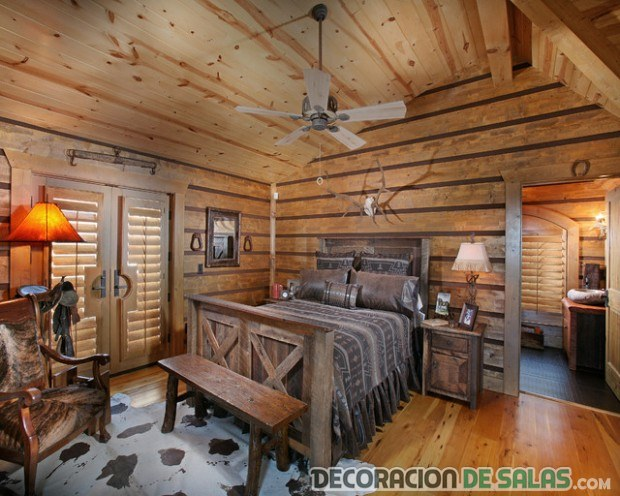dormitorio madera paredes